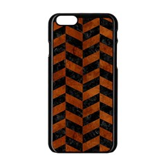 Chevron1 Black Marble & Brown Burl Wood Apple Iphone 6/6s Black Enamel Case