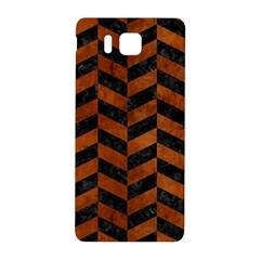 Chevron1 Black Marble & Brown Burl Wood Samsung Galaxy Alpha Hardshell Back Case