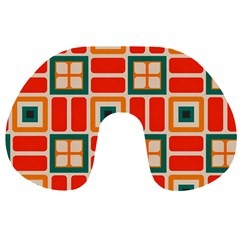 Squares And Rectangles In Retro Colors Travel Neck Pillow