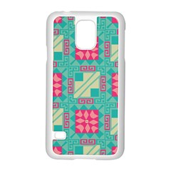 Pink Flowers In Squares Pattern samsung Galaxy S5 Case (white)