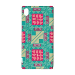 Pink flowers in squares pattern 			Sony Xperia Z3+ Hardshell Case