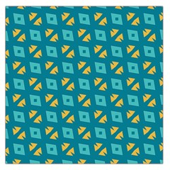 Blue Yellow Shapes Pattern Satin Scarf