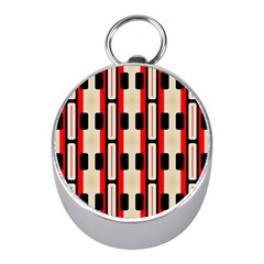 Rectangles And Stripes Pattern 			silver Compass (mini)