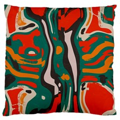 Retro Colors Chaos large Flano Cushion Case (two Sides)