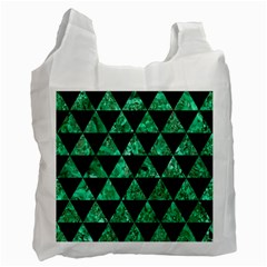 Triangle3 Black Marble & Green Marble Recycle Bag (one Side)
