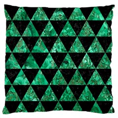 Triangle3 Black Marble & Green Marble Large Flano Cushion Case (one Side)