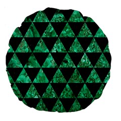 Triangle3 Black Marble & Green Marble Large 18  Premium Flano Round Cushion