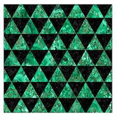 Triangle3 Black Marble & Green Marble Large Satin Scarf (square)