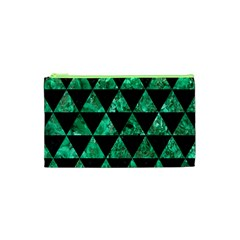 Triangle3 Black Marble & Green Marble Cosmetic Bag (xs)