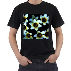 Light Blue Flowers On A Black Background Men s T Shirt (black) (two Sided)