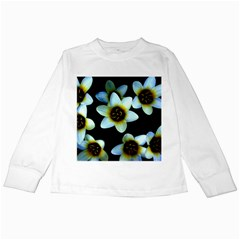 Light Blue Flowers On A Black Background Kids Long Sleeve T Shirts