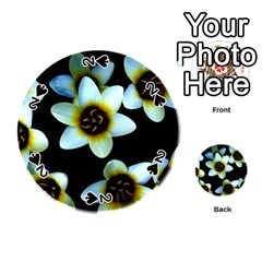 Light Blue Flowers On A Black Background Playing Cards 54 (round)