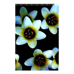 Light Blue Flowers On A Black Background Shower Curtain 48  X 72  (small)