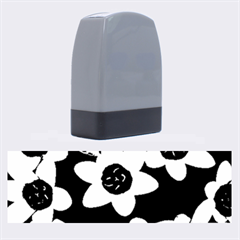 Light Blue Flowers On A Black Background Name Stamps