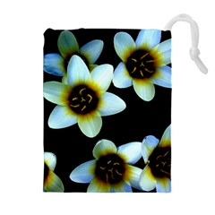 Light Blue Flowers On A Black Background Drawstring Pouches (Extra Large)
