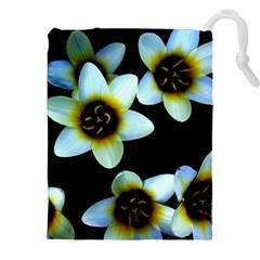 Light Blue Flowers On A Black Background Drawstring Pouches (XXL)