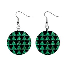 Triangle2 Black Marble & Green Marble 1  Button Earrings