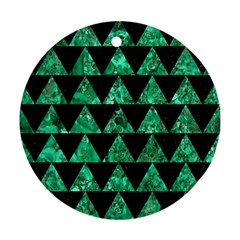 Triangle2 Black Marble & Green Marble Round Ornament (two Sides)