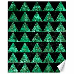 Triangle2 Black Marble & Green Marble Canvas 16  X 20