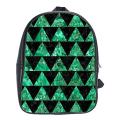 Triangle2 Black Marble & Green Marble School Bag (large)