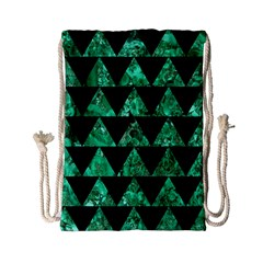 Triangle2 Black Marble & Green Marble Drawstring Bag (small)