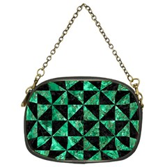 Triangle1 Black Marble & Green Marble Chain Purse (one Side)