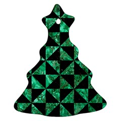 Triangle1 Black Marble & Green Marble Christmas Tree Ornament (two Sides)