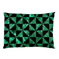 Triangle1 Black Marble & Green Marble Pillow Case (two Sides)
