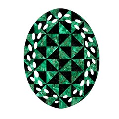 Triangle1 Black Marble & Green Marble Oval Filigree Ornament (two Sides)