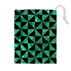 Triangle1 Black Marble & Green Marble Drawstring Pouch (xl)