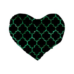 Tile1 Black Marble & Green Marble (r) Standard 16  Premium Flano Heart Shape Cushion