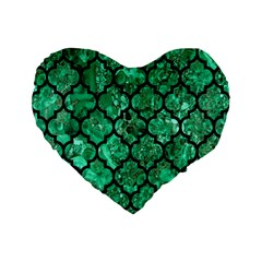 Tile1 Black Marble & Green Marble Standard 16  Premium Flano Heart Shape Cushion