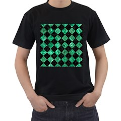 Square2 Black Marble & Green Marble Men s T Shirt (black) (two Sided)