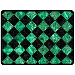 Square2 Black Marble & Green Marble Fleece Blanket (large)