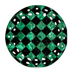 Square2 Black Marble & Green Marble Ornament (round Filigree)