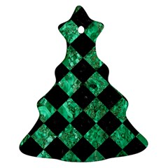 Square2 Black Marble & Green Marble Christmas Tree Ornament (two Sides)