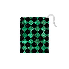 Square2 Black Marble & Green Marble Drawstring Pouch (xs)