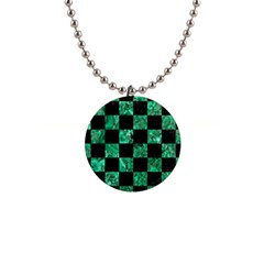 Square1 Black Marble & Green Marble 1  Button Necklace