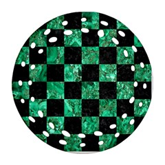 Square1 Black Marble & Green Marble Ornament (round Filigree)