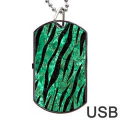 Skin3 Black Marble & Green Marble Dog Tag Usb Flash (two Sides)