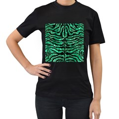 Skin2 Black Marble & Green Marble Women s T Shirt (black) (two Sided)
