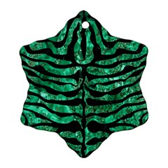 Skin2 Black Marble & Green Marble Snowflake Ornament (two Sides)