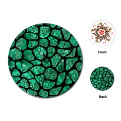 Skin1 Black Marble & Green Marble (r) Playing Cards (round)