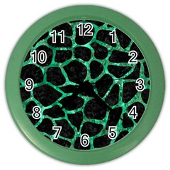 Skin1 Black Marble & Green Marble Color Wall Clock