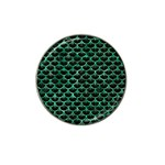 SCALES3 BLACK MARBLE & GREEN MARBLE (R) Hat Clip Ball Marker Front