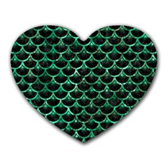 Scales3 Black Marble & Green Marble (r) Heart Mousepad