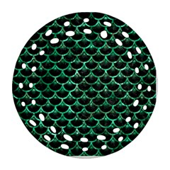 Scales3 Black Marble & Green Marble (r) Round Filigree Ornament (two Sides)