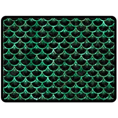 Scales3 Black Marble & Green Marble (r) Double Sided Fleece Blanket (large)