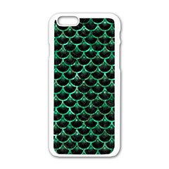 Scales3 Black Marble & Green Marble (r) Apple Iphone 6/6s White Enamel Case