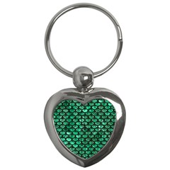 Scales3 Black Marble & Green Marble Key Chain (heart)